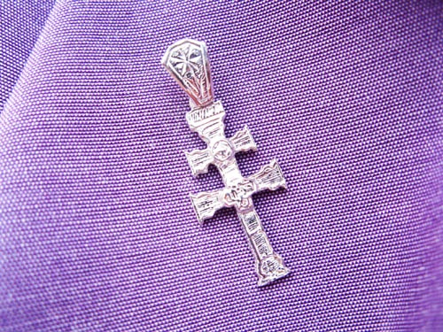 Decorative Caravaca Cross pendant - in sterling silver