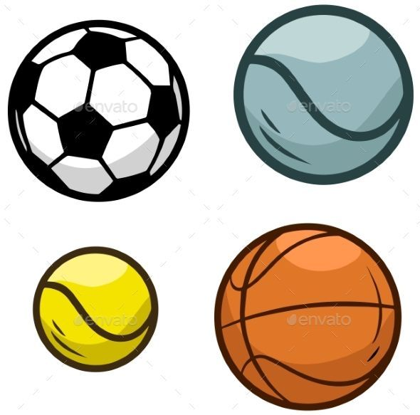 Cartoon Sports Ball Sports Equipment For Games Football And Volleyball Basketball And Tennis Vector Sports Balls Basketball Games For Kids Tennis Equipment