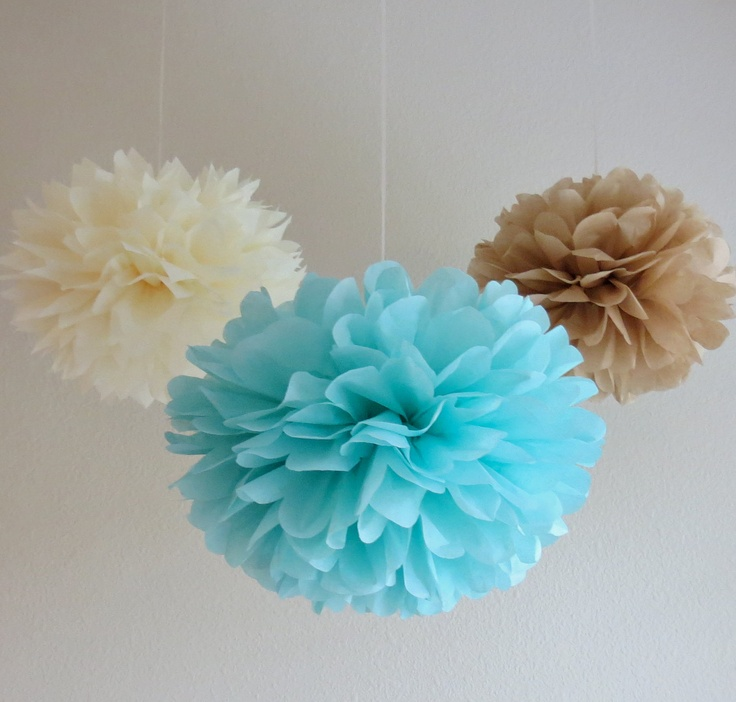 Seaside Tissue Paper Pom Poms - Pack of 7 - Aqua, Sand, Tan, Creme, Ivory, Beach Wedding. $25.50, via Etsy.
