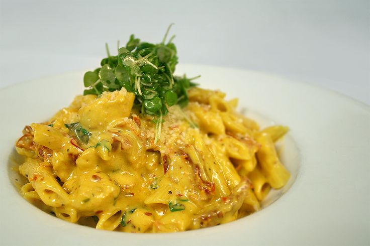 Time for something rich and hearty! Chicken penne pasta with saffron alfredo sauce. It's delicious and will stick to your ribs!  #sharemyplate