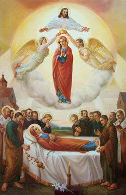 THE ASSUMPTION OF THE VIRGIN MARY. Jesus does not permit the sinless body of His Mother to decay in the grave.