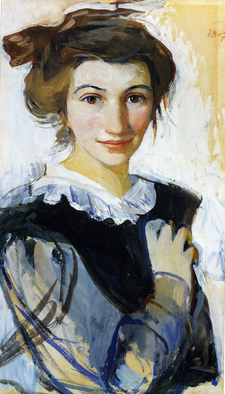 Серебрякова З.Е.. Автопортрет в черном платье с белым воротником . 1907