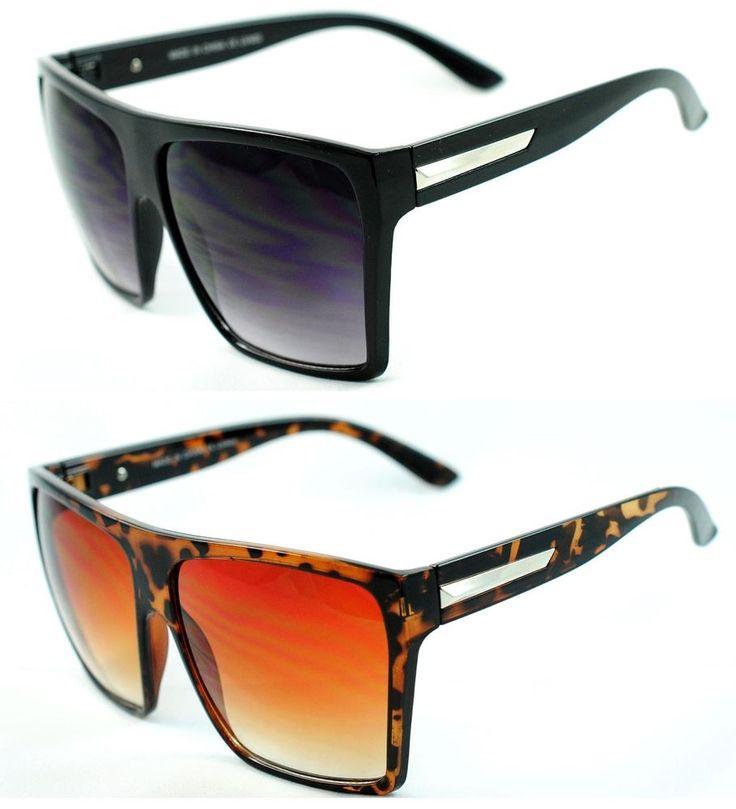 XL Oversized Retro Big Square Flat Top Sunglasses - Black / Tortoise  #Unbranded #Square
