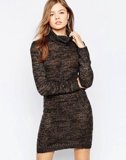b.Young | Облегающее платье с высокой горловиной и блестками b.Young