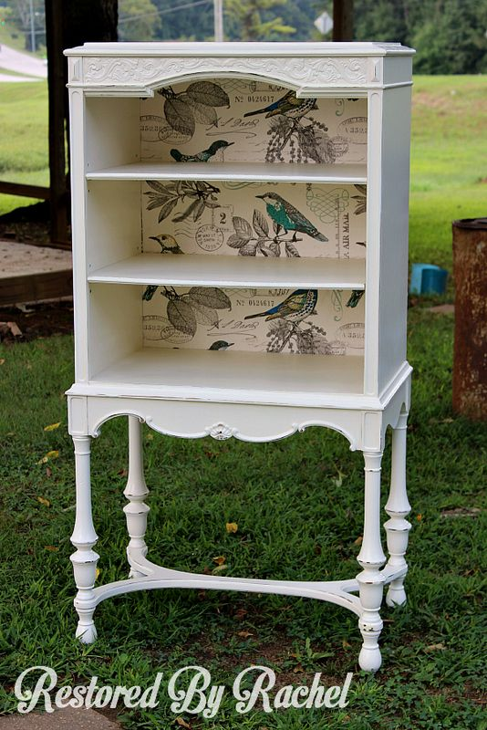Painted Furniturinet tue - Beautiful old radio cabinet turned bookcase/display cabinet.  Painted in General Finishes Antique White ~ by Restored by Rachel