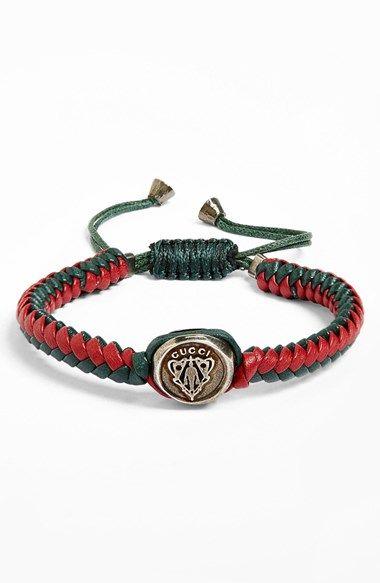 Gucci 'Crest' Woven Leather Bracelet