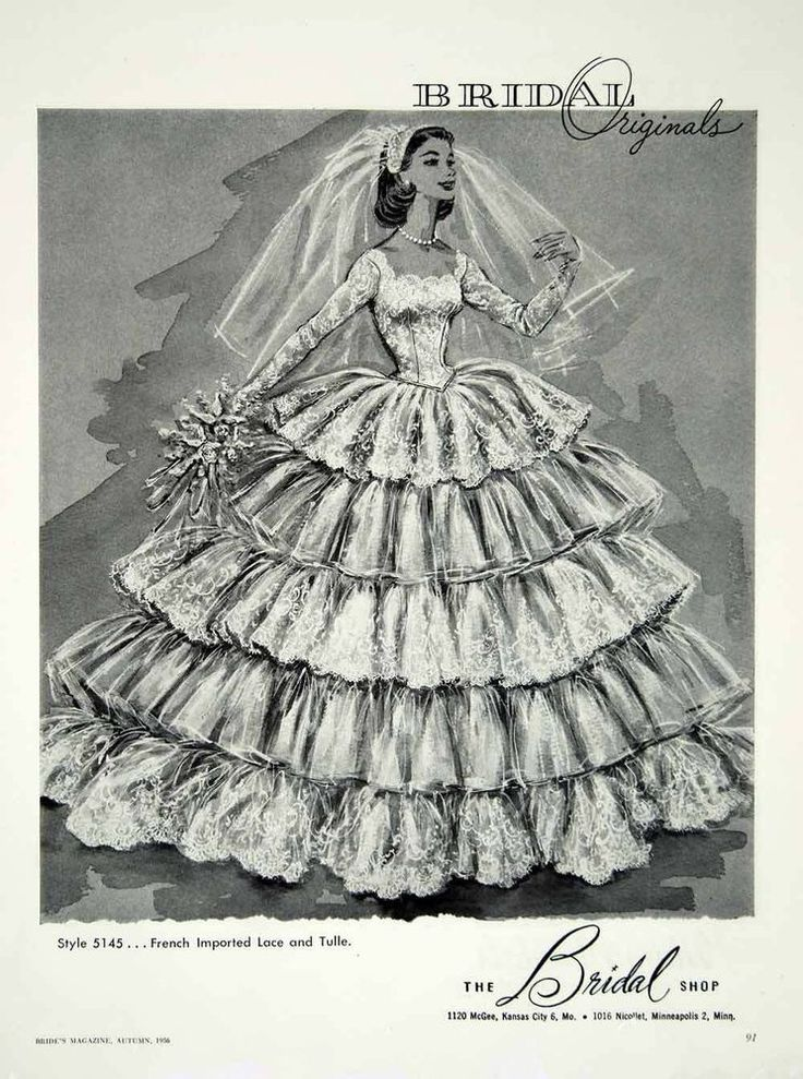 1956 Ad Vintage Wedding Dress Bride Lace Tulle Ruffles Gown Fashion Illustration
