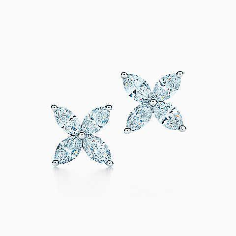 Brincos Tiffany Victoria™ em platina com diamantes, médios.