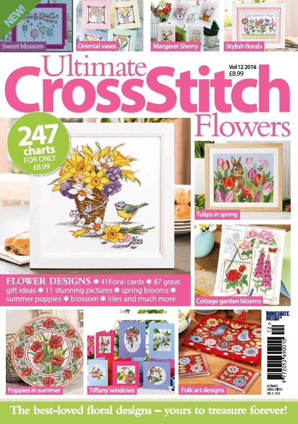 In this issue:  FLOWER DESIGNS:  41 floral cards, 87 great gift ideas, 11 stunning pictures, spring blooms, summer poppies, blossom, lilies and much more!  Stitch: Sweet blossom, Oriental vases, Margaret Sherry, Stylish florals, Tulips in spring, Cottage garden blooms, poppies in summer, Tiffany windows & Folk art designs