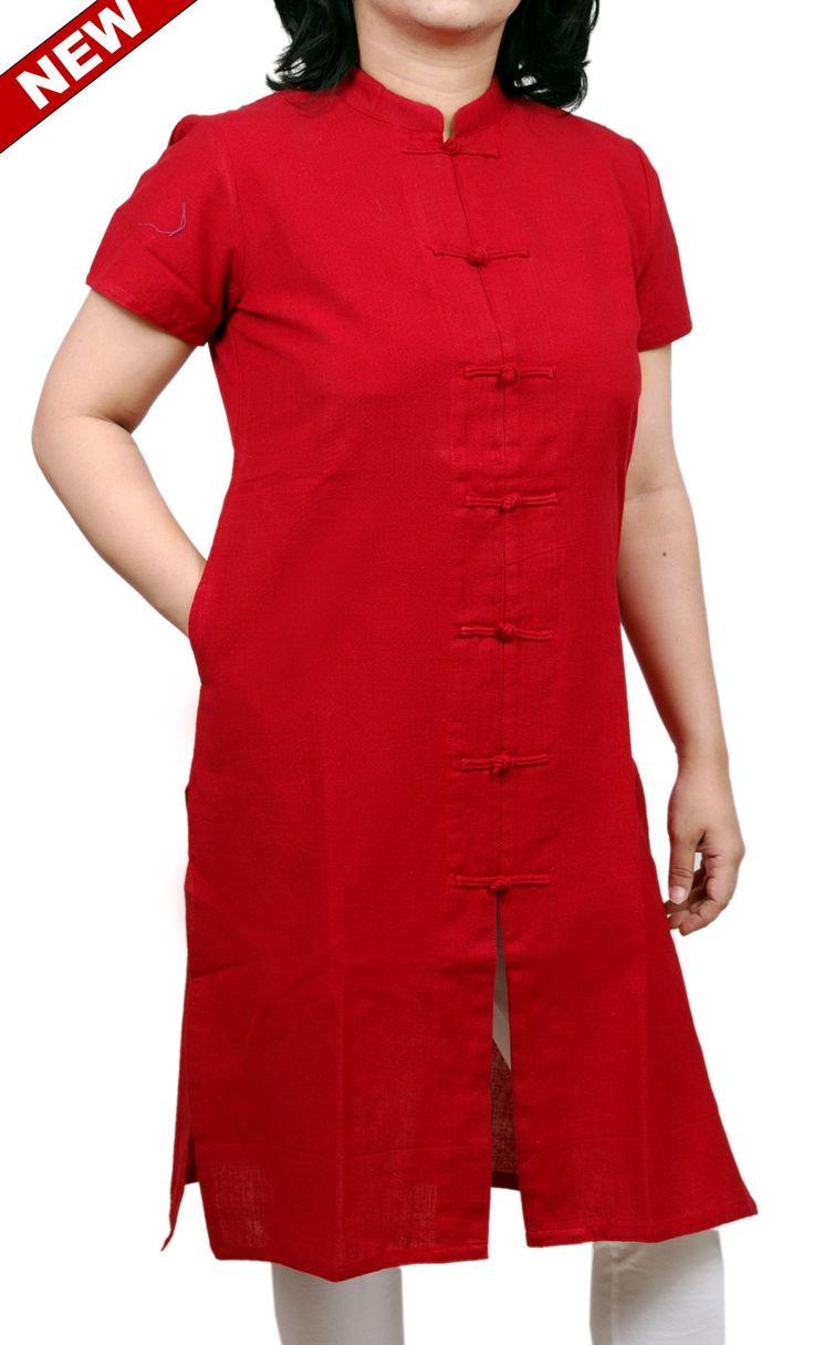 Women Corporate Kurtas,Indian Concepts,Rosy Red Surabhi Loop-Knot Corporate Kurta