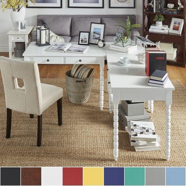 Lyndale L Shaped Helix Legs Corner Office Desk By INSPIRE Q   Overstock.com
