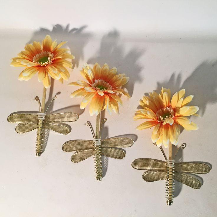 Dragonfly flower holder gold wire mesh floral stem