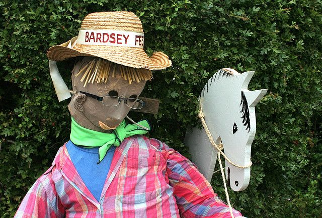 Scarecrow competition. The scarecrows are part of the Bardsey (West Yorkshire) celebrations to mark the 35th anniversary of the Bardsey/Kisdof (Germany) twinning.