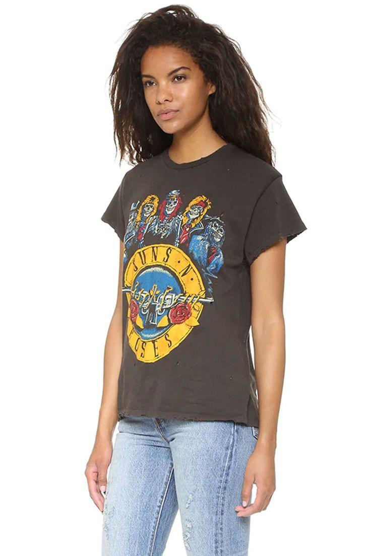 Vintages T-Shirt, Boho T-Stück, Gewehre N Rosen GNR