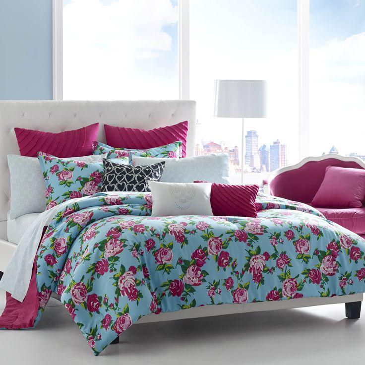 betsey johnson boudoir cotton 3piece comforter set by betsey johnson teen beddingblue