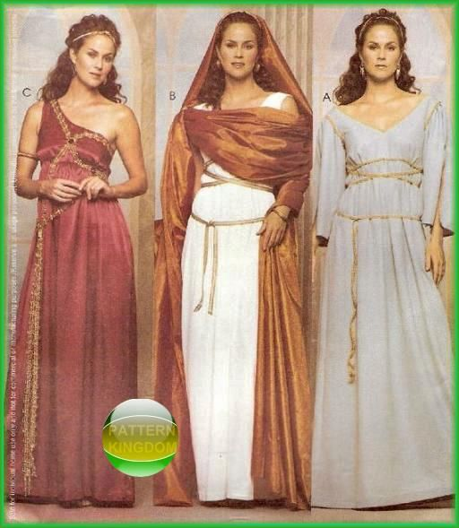 Mccall S 3514 Greek Roman Gown Toga Costume Sewing Pattern: VENUS Roman/Greek Goddess Patterns 3 Styles