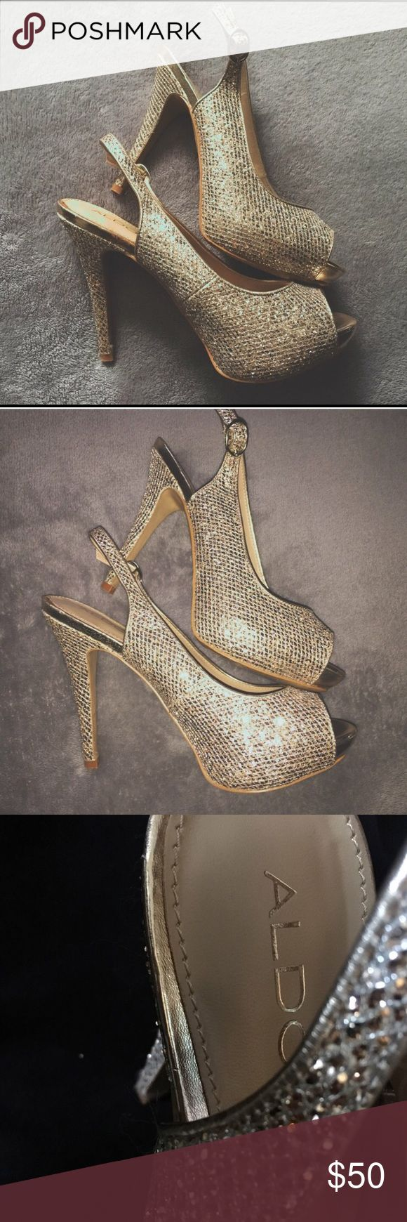 Sparkly Gold Aldo Heels Sparkly gold heels perfect for prom!! Only worn once. Aldo Shoes Heels