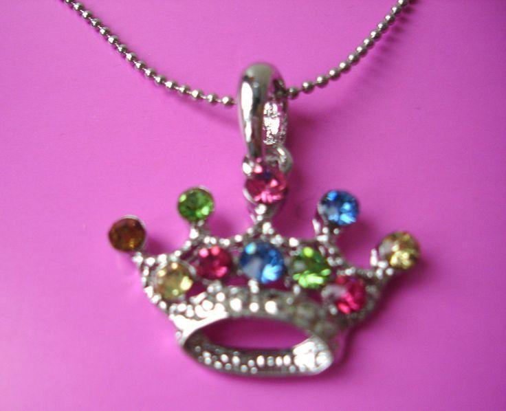 crown colourful rhinestones pendant necklace vintage