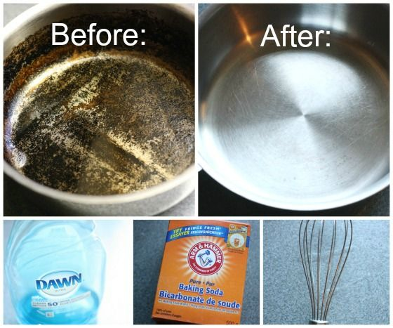 Clean the burned, black bottom of a steel pot or pan in minutes. Fill the pot with an inch of water, add a few drops of dish soap and a couple of tablespoons of baking soda. Bring to a boil (it will happen quickly!) and then reduce to simmer for a few minutes. Whisk the bottom of the pan quickly to lift off all the black bits.