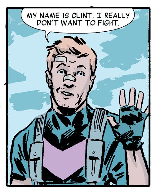 """"""" Clint: My name is Clint. I really don't want to fight. """" From Secret Avengers Volume 3 #01 (Ales Kot & Michael Walsh)"""
