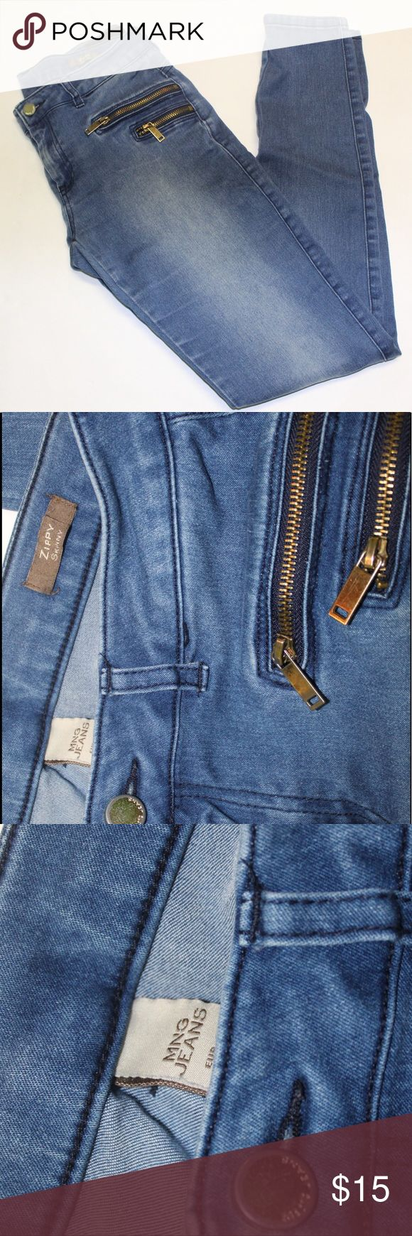 Mango Jeans with double gold zip accent Mango Jeans with double zip accent GUC Mango Jeans Skinny