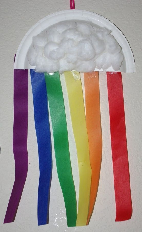 easy and cheap to do, for kids, use streamers or ribbon or paper for the rainbow