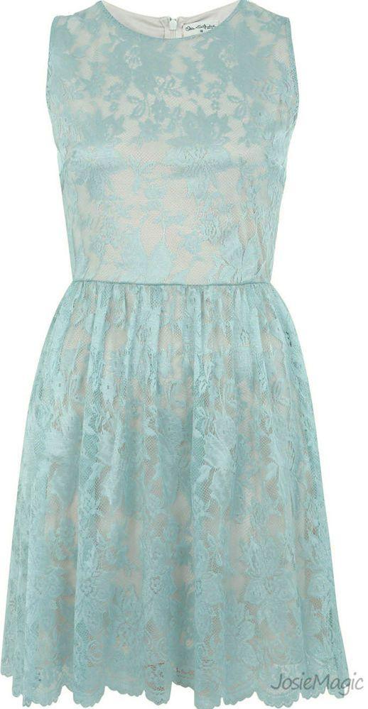 Miss Selfridge Duck Egg Blue Lace Skater Dress UK 12 14 Sleeveless Summer New