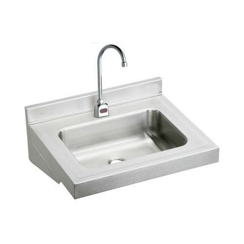 Elkay ELV2219SACTMC Stainless Steel (Silver) 22 Wall Mount Single Bowl Bathroom Sink with Sensor Faucet and Anti-Scald Mixing Valve