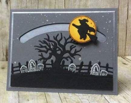 Halloween card, Halloween Scenes, Sliding Star Famelits