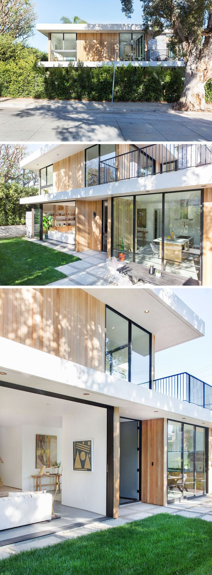 The exterior of this contemporary home is clad in bleached cedar and stucco, with a second story deck that breaks up the massing and relates to the corner at the second level. #ContemporaryHouse #HouseDesign #Architecture