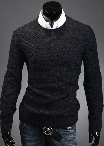 Solid Round Neck Knitting Wool Men Sweaters – teeteecee - fashion in style
