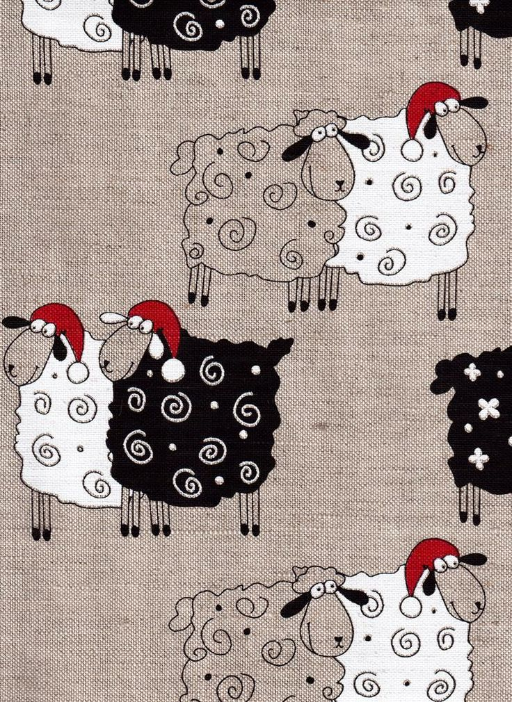 Christmas Sheep--Canvas Linen Printed Fabric--Christmas Stocking Ideas--All DIY Projects by LinenGifts on Etsy