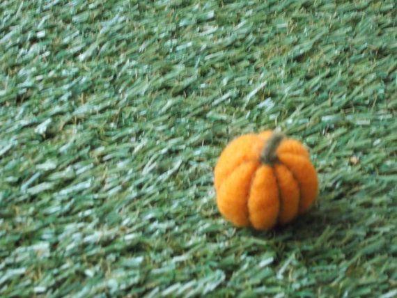 Miniature Pumpkin  Needle Felted by LoveandSqualorCrafts on Etsy, $11.00