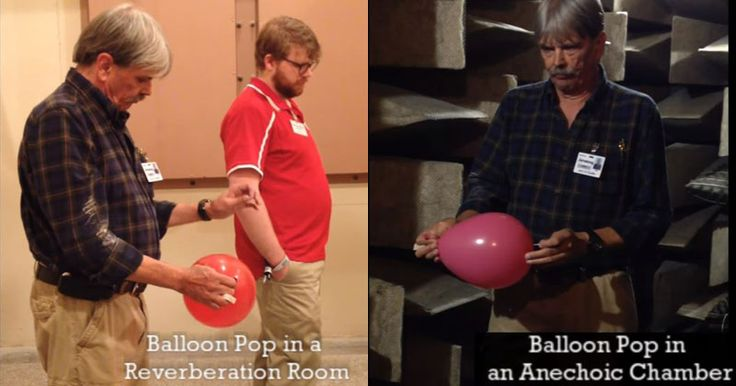 awesome Popping a Balloon in a Reverberation Room vs an Anechoic Chamber