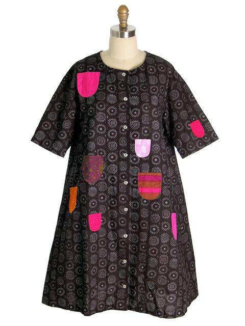 Vintage Marimekko Print Dress Aline Black/W Colorful Pockets Sz 38