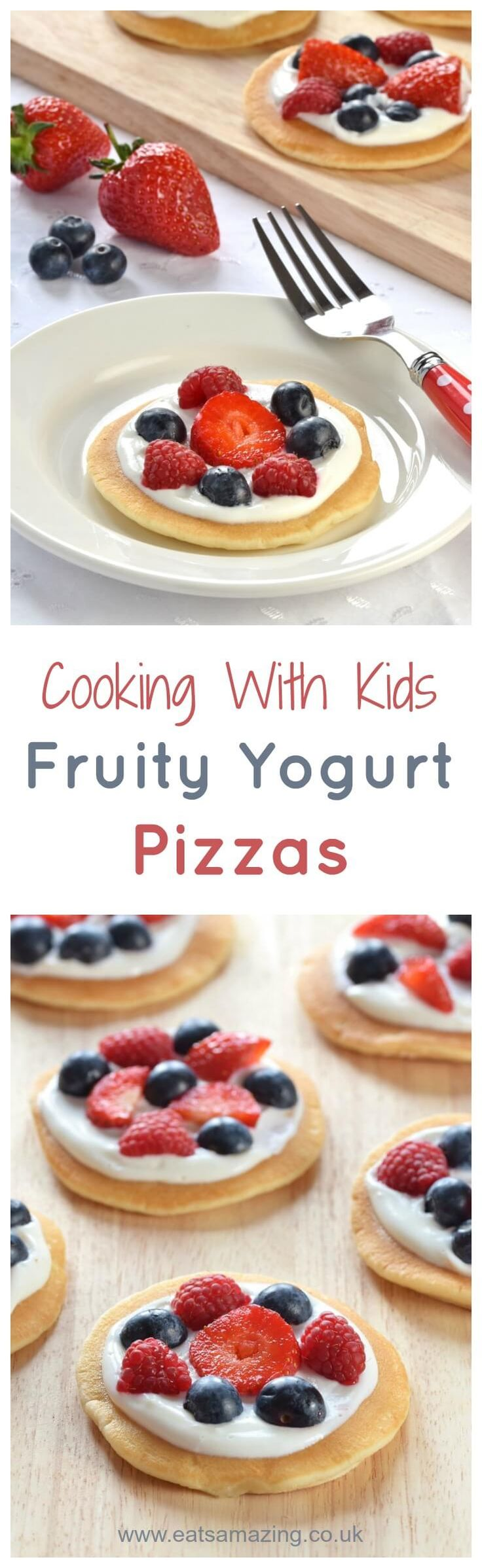 Cute mini fruit pizzas topped with yogurt and berries - a great easy recipe to cook with kids this summer - fun food for kids from Eats Amazing UK