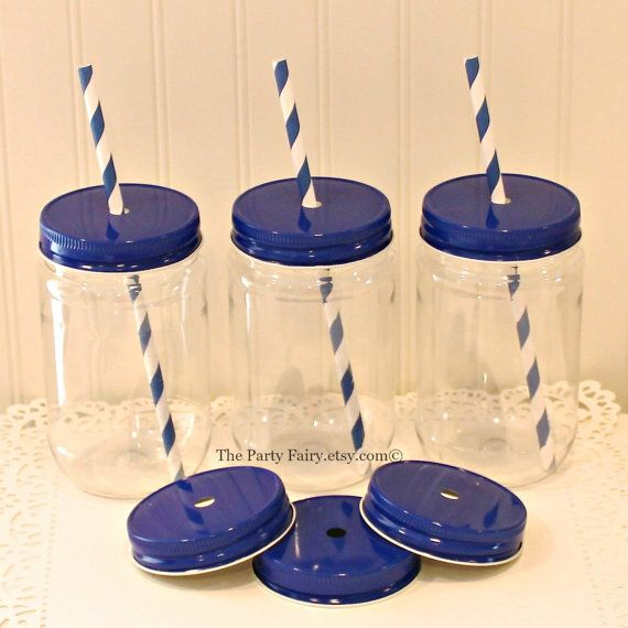 Plastic Mason Jar 10 Plastic Mason Jars with by ThePartyFairy
