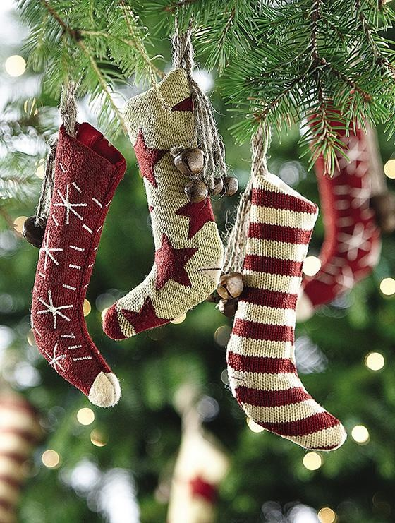 Knit Stocking Ornaments with Bells - Set of 6 - Christmas Tree Ornaments - Holiday | HomeDecorators.com
