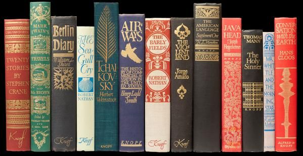 A few Knopf books from 1937-56. Again, no type.  #bookspines   via @WADwiggins