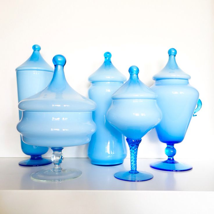 Vintage mid-century glass collection of cased Italian baby blue Empoli pieces by deedee9:14
