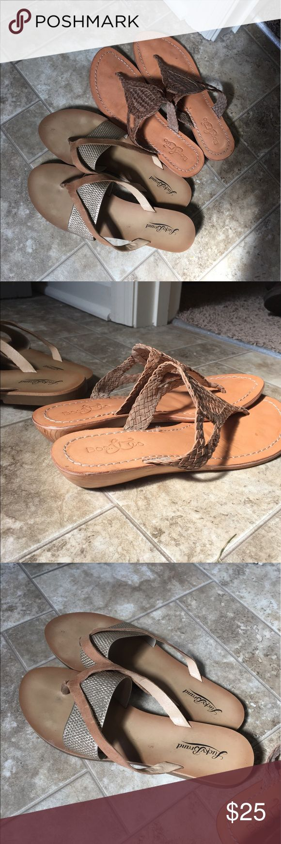 2 pairs of neutral sandals Flip flops with elastic gold band is lucky brand. The other is a boutique brand. Both size 9 and lightly worn. True to size. Price is for both. Lucky Brand Shoes Sandals