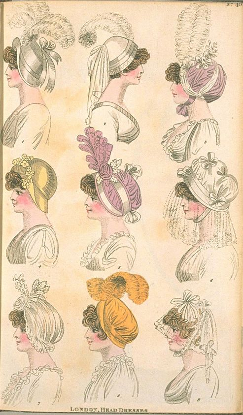 London Head Dresses, June 1801, Fashions of London & Paris