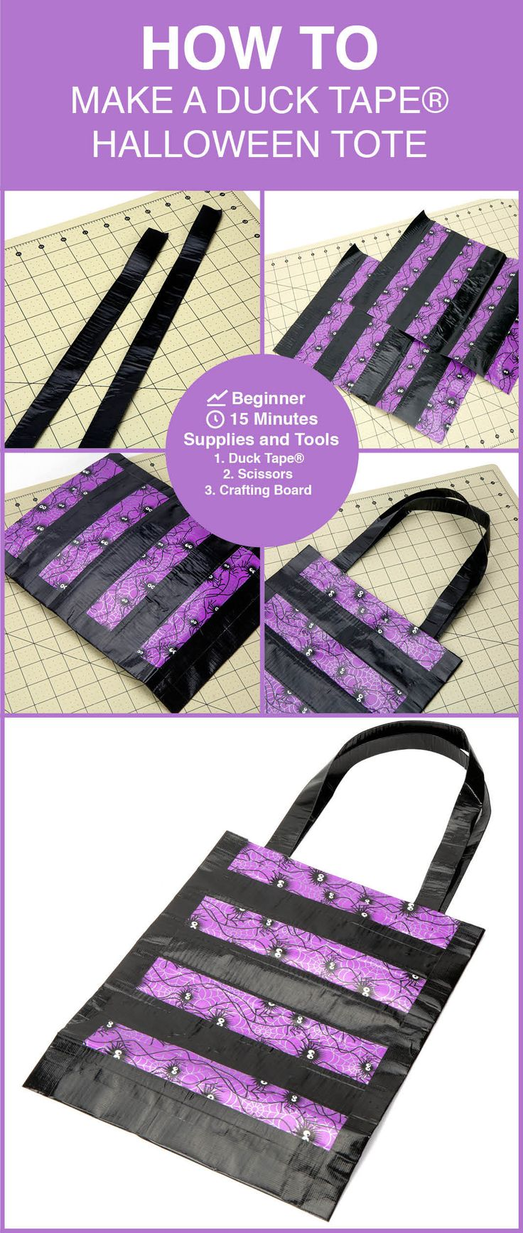 Make a halloween tote with Duck Tape® to get in a spooky mood: