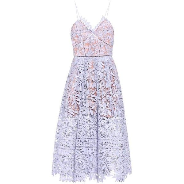 Self-Portrait Laelia Lace Dress found on Polyvore featuring dresses, vestidos, midi & long, purple, purple lace dress, lacy dress, self portrait dress, purple cocktail dresses and purple lace cocktail dress