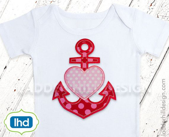 Anchor heart monogram monogram nautical heart embroidery