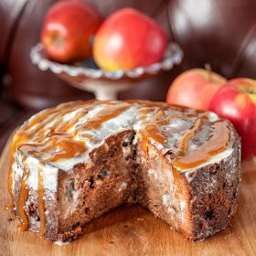 supergolden bakes: Fresh apple cake with buttermilk glaze and apple caramel sauce