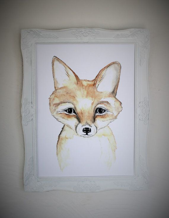 fox art print fox print  fox cub watercolor by jessicasarahdesign