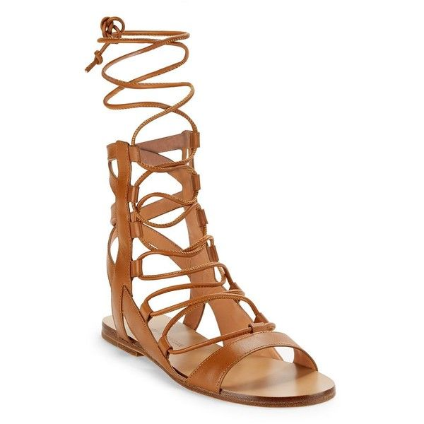Sigerson Morrison Women's Bunny Leather Gladiator Sandals ($210) ❤ liked on Polyvore featuring shoes, sandals, brown, greek sandals, gladiator sandal, open toe sandals, brown shoes and leather sandals