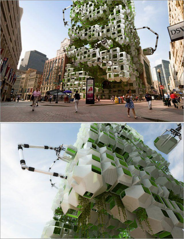 Vertical algae-powered bioreactor to produce biofuels .Pre fab modules are tended by robotic arms to optimize growing conditions