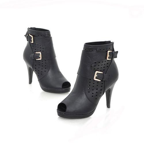 Elegant Peep Toe Cut Out Buckle High Heel Womens Sandals